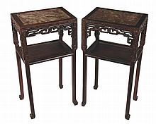 Pair nineteenth-century Chinese carved hardwood  tables