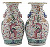 Pair of nineteenth-century Chinese famille rose vases
