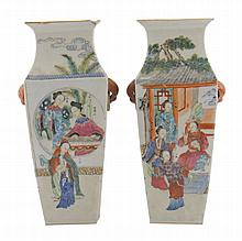Pair Chinese Qing period famille vert vases of square tapered form