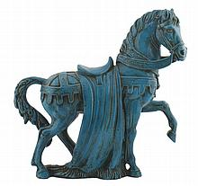 Large blue glazed Chinese horse