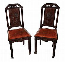 Set of eight Chinese Art Nouveau hardwood dining chairs