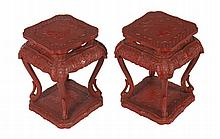 Pair Qing period lacquered tables