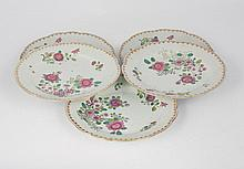 Group of five eighteenth-century Chinese famille rose plates
