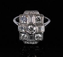 18 ct. Art Deco white gold and diamond 1.25 ct. ring