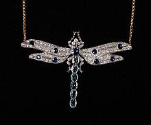 Diamond sapphire and aquamarine dragonfly shaped pendant necklace