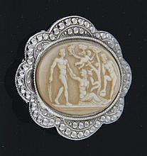 Silver and cameo brooch