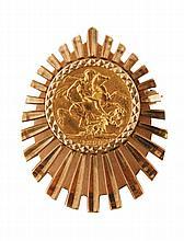 Framed gold sovereign brooch, dated 1890