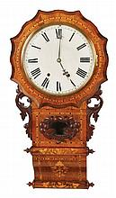 Anglo-American 8 day inlaid wall clock, circa 1890