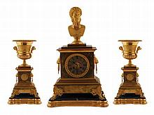 French Empire gilt bronze clock garniture