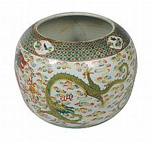 Qing period famille rose polychrome bulbous fish bowl