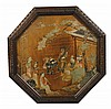 Nineteenth-century Chinese soapstone and mother o'pearl carved pictorial panel