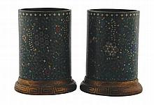 Pair of 18/19th century Chinese cloisonne enamelled brush pots