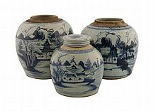 Group of three Qing period blue and white ginger jars