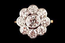 18 ct. white gold 2.40 ct. diamond cluster ring