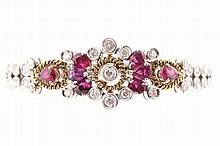 Ruby and diamond 18 ct. yellow and white gold bracelet