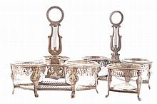 Suite of French Empire silver condiment stands