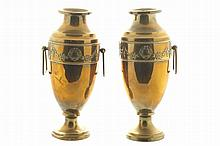 Pair of gilt crested vases