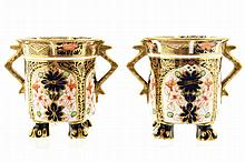 Pair of Crown Derby parcel gilt cups