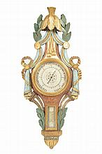Late nineteenth-century carved, polychrome and parcel gilt barometer