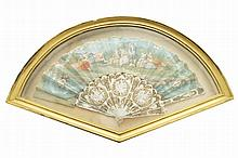 George III period mother o'pearl and painted fan