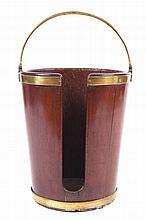 Large Irish George III period mahogany and brass bound plate bucket