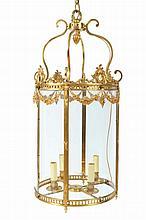 Large gilt bronze hall lantern