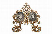 Gilt brass and pietra dura inlaid photo frame