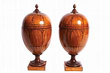 Pair of George III period satinwood and marquetry knife urns