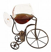 Silver bicycle cognac glass warmer