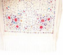 Chinese embroidered and silk fringed shawl