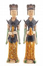 Pair of Chinese Sancai glazed figures