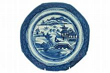 Group of four eighteenth-century blue and white plates