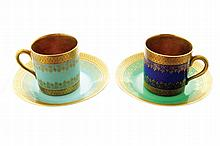 Pair of Bavarian Havilland blue porcelain coffee cups and saucers