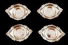 Nineteenth-century cased set of four silver salts