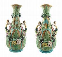 Pair of large Minton majolica vases