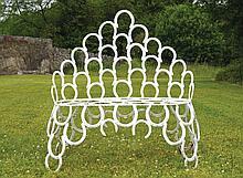 Cast iron horseshoe shaped garden seat