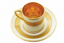 Bavarian Havilland white and parcel gilt porcelain coffee cup and saucer