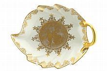 Karlsbader parcel gilt leaf shaped porcelain dish