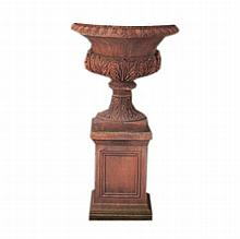 Pair of ornate terracotta urns