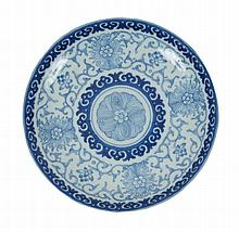 A blue and white Chinese dish, minyao seal mark of Qianlong (1736-95)