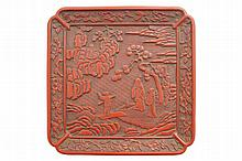 Chinese red lacquer square tray