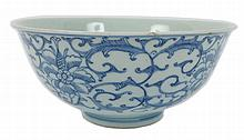 A blue and white Chinese bowl, minyao seal mark of Qianlong (1736-95).