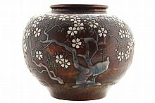 Japanese Ando company copper bowl with enamel decoration