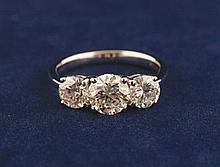 Three stone diamond ring 2.08 ct. set in 18 ct.