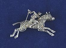 Horse and jockey solid silver marcasite brooch