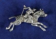 Horse and jockey silver marcasite brooch