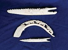 Group of three African ivory carvings, large and