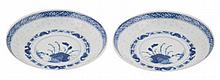 Pair Chinese blue and white saucer dishes 13.5 cm