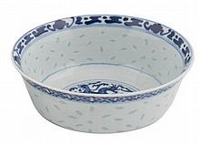 Pair Chinese blue and white rice bowls