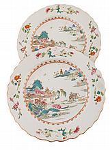 Pair eighteenth-century famille rose plates Each